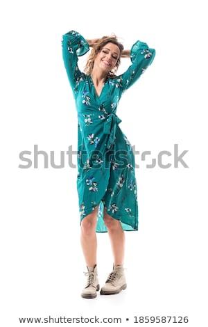 Bruna donna abito seducente guardando Foto d'archivio © studiolucky
