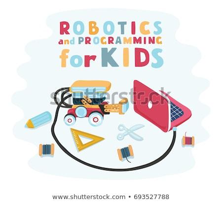 Gyerek robotika designer illusztráció fiú visel Stock fotó © lenm
