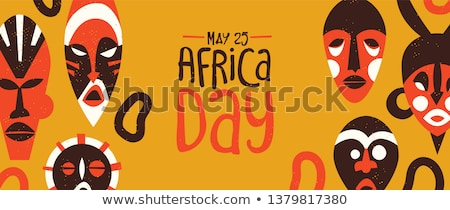 Africa Day banner with tribal art decoration Stock photo © cienpies