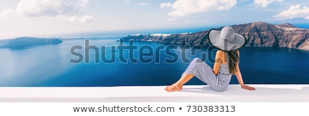 Meisje Blauw jurk balkon vakantie vrouw Stockfoto © ElenaBatkova