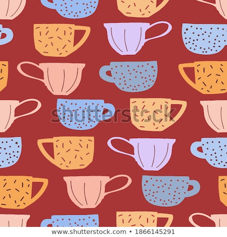 cartoon cute doodles hand drawn tea house seamless pattern stock photo © balabolka
