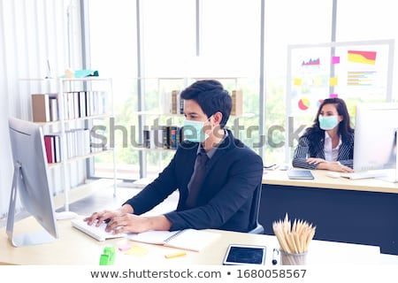 Stock photo: Businessman Working in Office, Workplace of Man