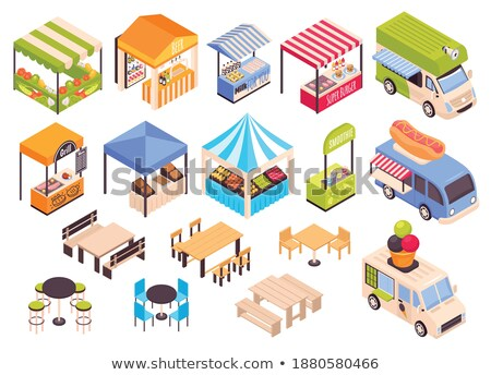 Street Food, Marketplace Stands Set Vector Image Stock photo © robuart