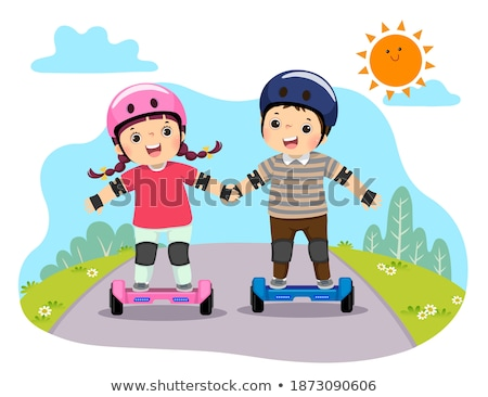 Boy Balancing on Scooter, Skateboarder in Helmet Stock photo © robuart