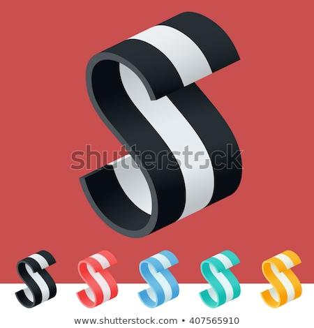 Three colors line font Letter S 3D Stock photo © djmilic
