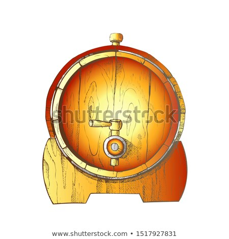 Beer Drawn Wooden Oak Barrel Front View Color Vector Stock photo © pikepicture