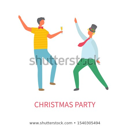 christmas party two drunk men dancing at fest stock photo © robuart