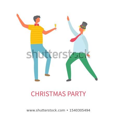 Karácsony buli kettő részeg férfiak tánc Stock fotó © robuart