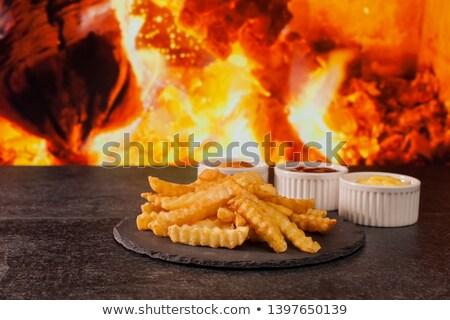 Heerlijk frietjes geserveerd drie variëteit Stockfoto © lightkeeper