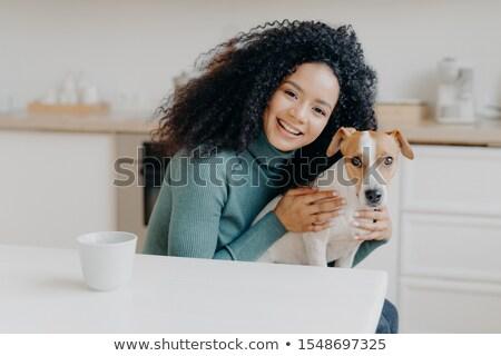 çok güzel gülümseyen kadın favori köpek bakım sevmek Stok fotoğraf © vkstudio