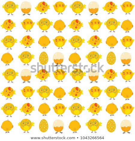 Cute funny birds with nest and eggs vector doodle hand drawn seamless pattern Stock photo © foxbiz