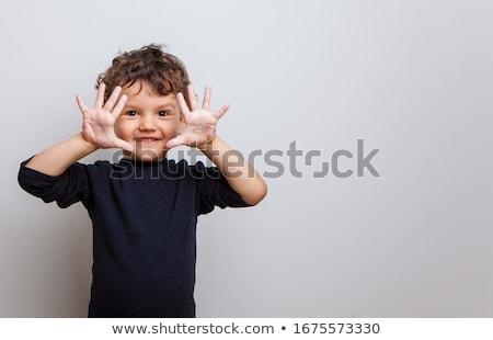 Cute белый мальчика стиральные рук болезнь Сток-фото © zkruger