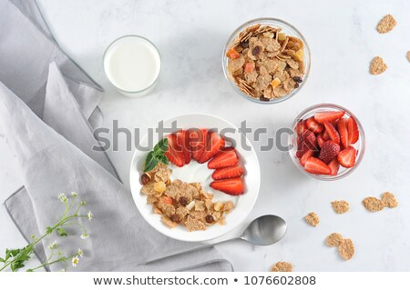 Banner of Corn Flakes on white wooden background. Frame. Stock photo © Illia