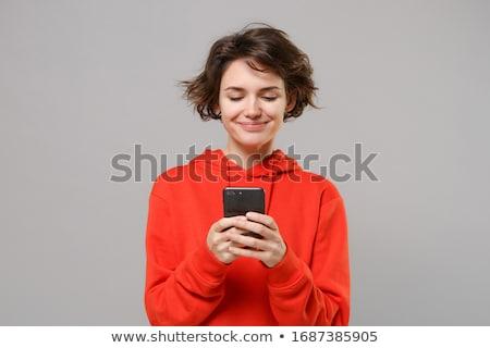 Stockfoto: Jonge · brunette · vrouw · permanente · bed