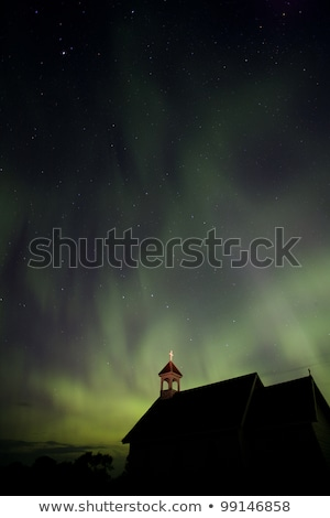 Stockfoto: Country Church And Northern Lights