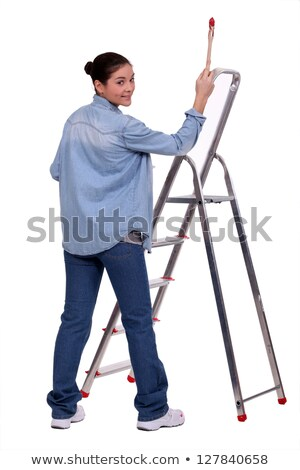 Female DIY fan stood with paint brush and ladder Stock photo © photography33