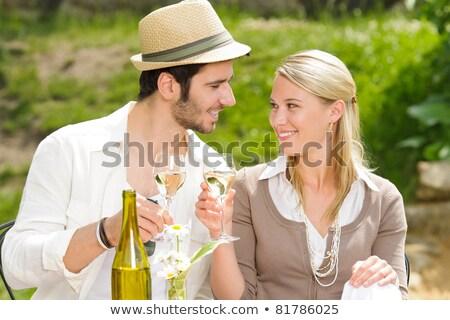 Kettő jólöltözött párok pirít étterem nők Stock fotó © photography33