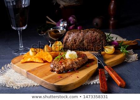 Steak And Potato Wedges Stok fotoğraf © Dar1930