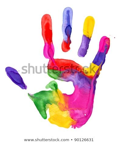Közelkép színes kéz nyomtatott fehér absztrakt Stock fotó © vlad_star
