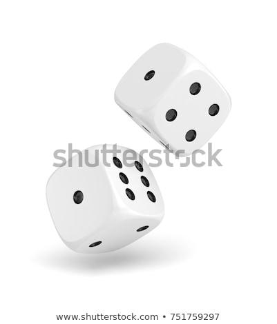 two white dices on white background stock photo © ozaiachin