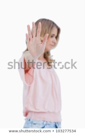 zaklatott · szőke · nő · felfelé · kezek · ágy · fej - stock fotó © wavebreak_media