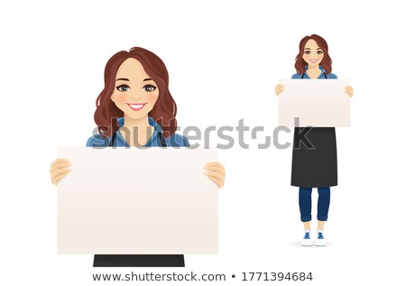 Woman caterer showing business card Stock photo © photography33
