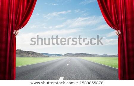 kurtyny · czerwony · niebieski · kolory · okno · wnętrza - zdjęcia stock © lightsource