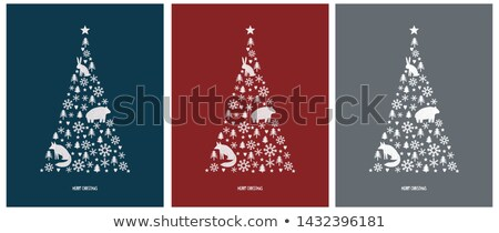 Bear colorful vector background made with snowflakes stock photo © krabata