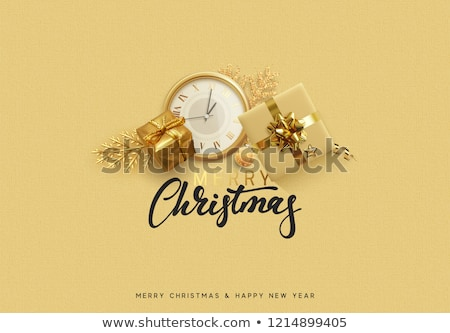 Golden Christmas clock, vector illustration Stock photo © carodi