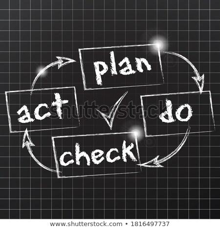vetor · plano · verificar · agir · diagrama · azul - foto stock © burakowski