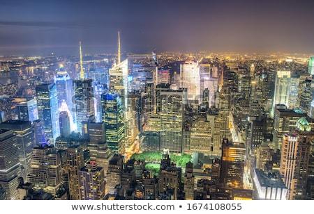 Manhattan éjszaka kilátás Empire State Building felhők ősz Stock fotó © Hofmeester
