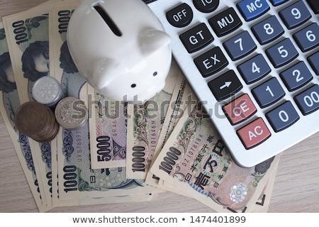 Hesap makinesi Japon yen dikkat kâğıt kırmızı Stok fotoğraf © rufous