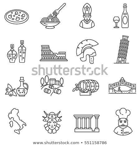 İtalya simgeler vektör ayarlamak stilize şarap Stok fotoğraf © vectorpro