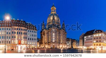 liebfrauenkirche in dresden by night stock photo © meinzahn
