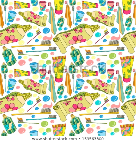 sketch tooth brush and paste vector seamless pattern stock photo © kali