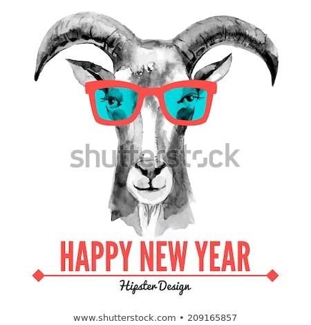 Szkic nowy rok baran vintage stylu szczęśliwy Zdjęcia stock © kali