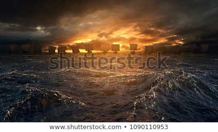 Foto stock: Vikingo · barco · mar · color · ilustración · madera