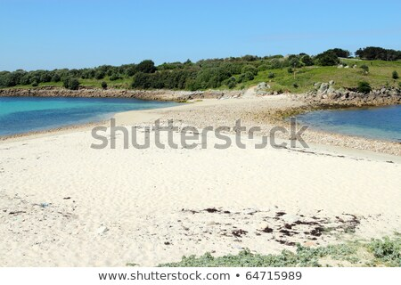 Sand bar beach between St. Agnes and Gugh, Isles of Scilly. Stock photo © latent