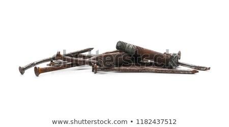 Oude roestige schroef witte bouw metaal Stockfoto © dezign56