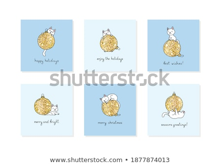 Stock photo: golden christmas balls template eps 8