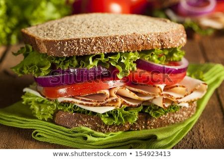Healthy Turkey Sandwich on Whole Grain Bread Stock photo © rojoimages