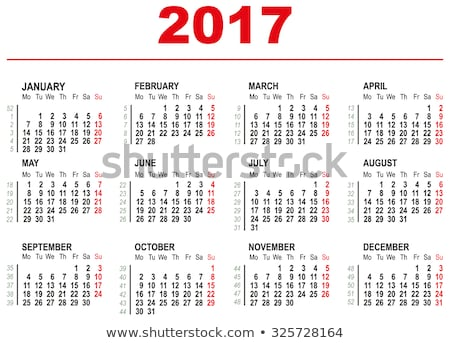 2017 calendar template horizontal weeks first day monday stock photo © orensila