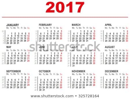 2017 calendar template horizontal weeks first day monday stock photo © orensila