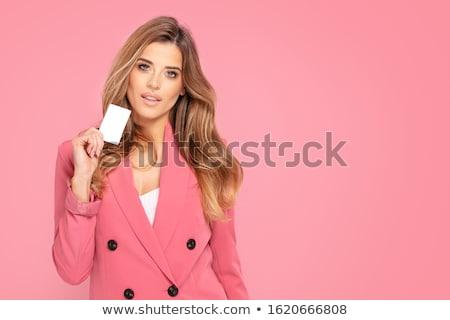 элегантный женщину подарок красивая женщина позируют красный Сток-фото © oleanderstudio