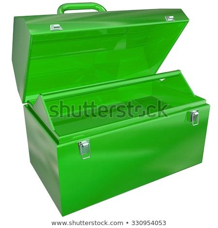 Groene metaal Open toolbox lege store Stockfoto © iqoncept