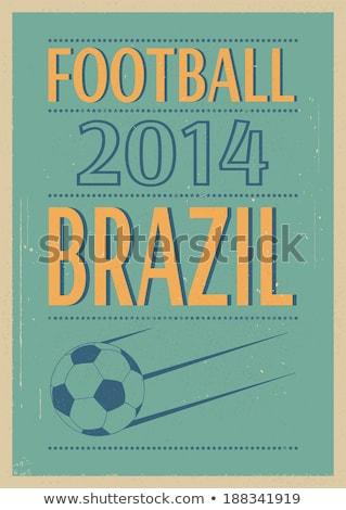 grunge · futbol · poster · futbol · topu · eps · vektör - stok fotoğraf © beholdereye