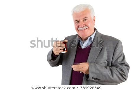 Senior zakenman glas turks thee Stockfoto © ozgur