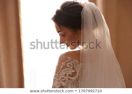 Portré modell fátyol szőke nő divatos smink Stock fotó © jrstock