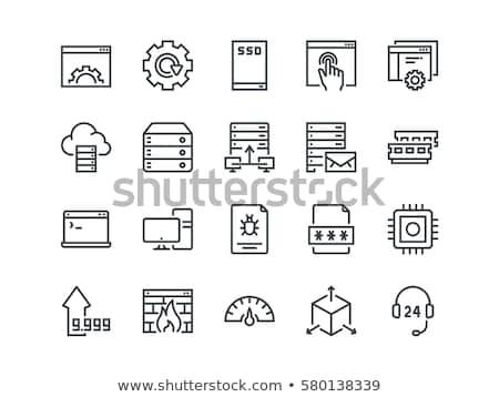 bilgisayar · donanımları · Sunucu · vektör · ince · hat · ikon - stok fotoğraf © rastudio