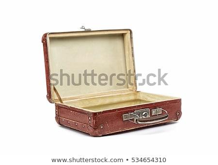 klasszikus · bőrönd · funky · matricák · izolált · fehér - stock fotó © loopall